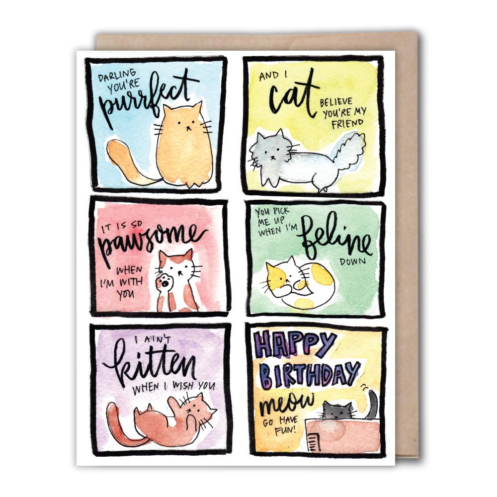 Punny Cats Birthday Card Fiber Dye Greeting cards Weddings