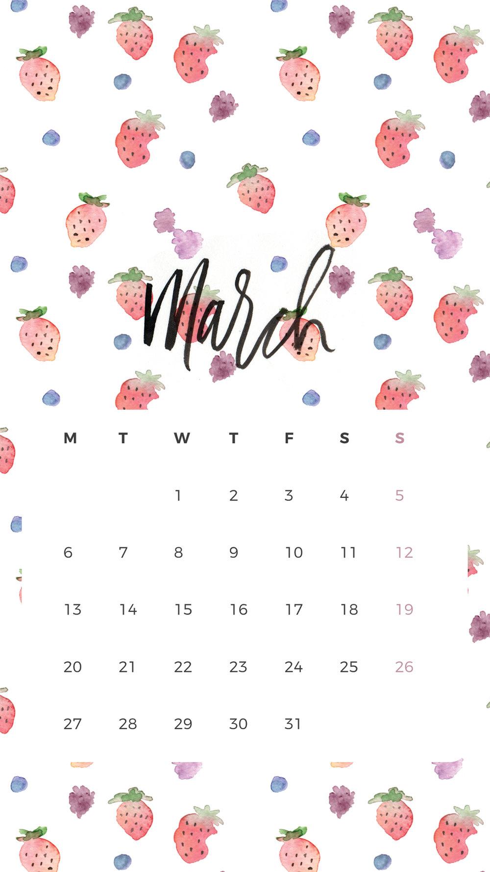 Fiber & Dye | March Wallpaper Calendar