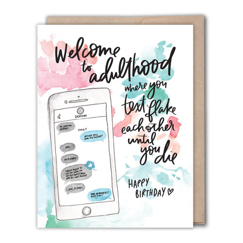 Adulthood Text Birthday Card 1320 List
