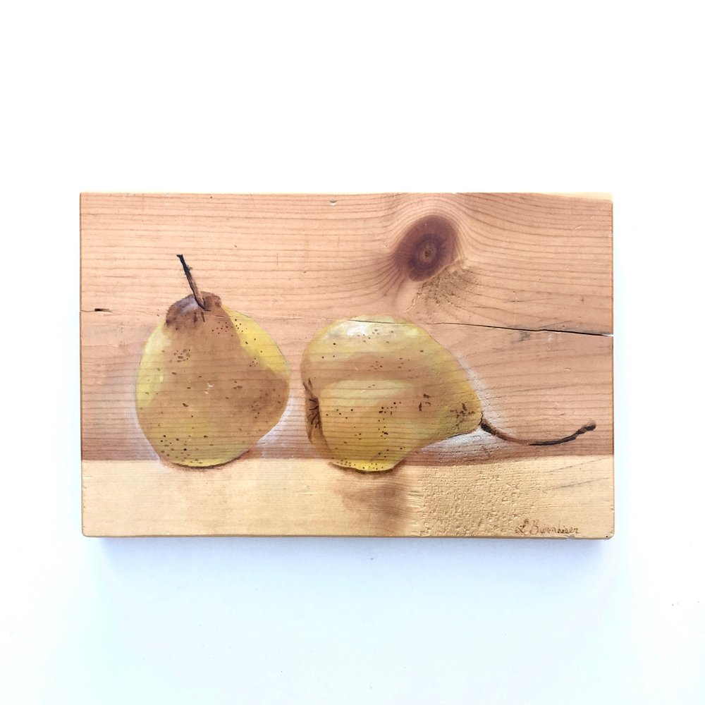 Double pears. Watercolor on rescued wood. Measures 6x9 inches. Bidding will start at $30.  This piece has been mended. There is a small crack in the wood where it was once securely glued back together.