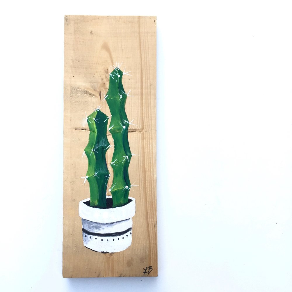 """Potted Double Pricks"" Acrylic on rescued wood. Measures 5 x 14 inches. Ready to hang,"
