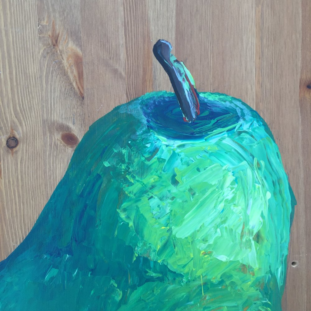 "Detail of "" Mondo-pear"" Acrylic on rescued wood (old table-top). Measures 19 x 29 inches. Ready to hang."