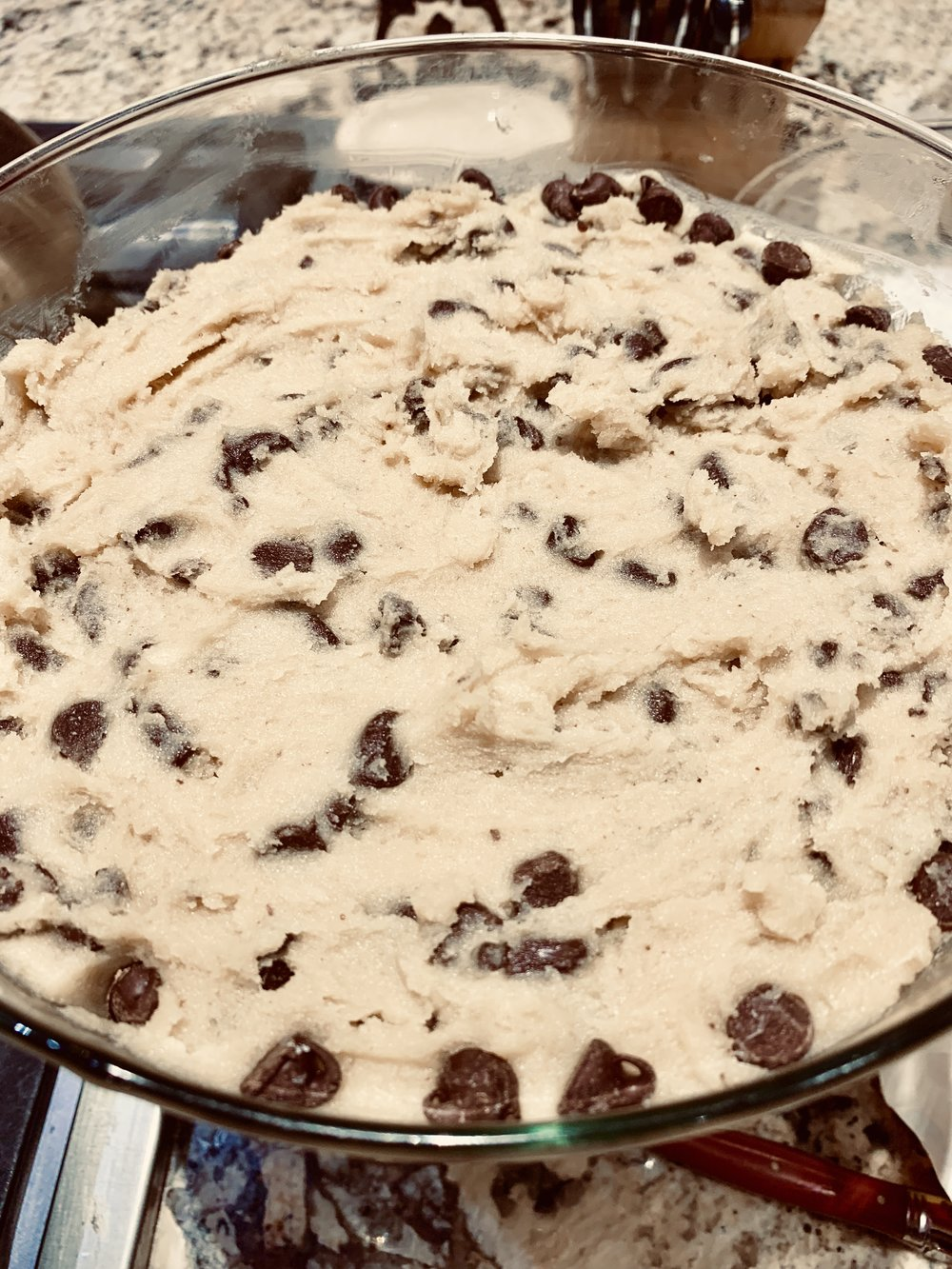 - Spread edible cookie dough on top of caramel layer. Edible cookie dough is a dessert by itself, but with all these favorites it becomes a real real crowd pleasing dessert!