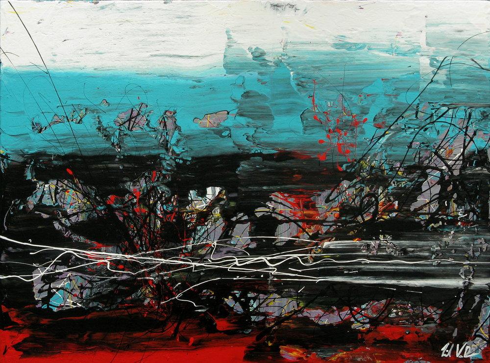 "Give Me Nothing   - 2013 - Acrylic on panel  . 24"" × 32""."