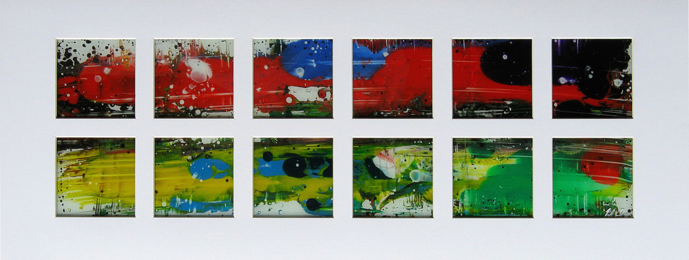"""The Church   - 2011 - Acrylic on glass. 6"""" × 21""""."""