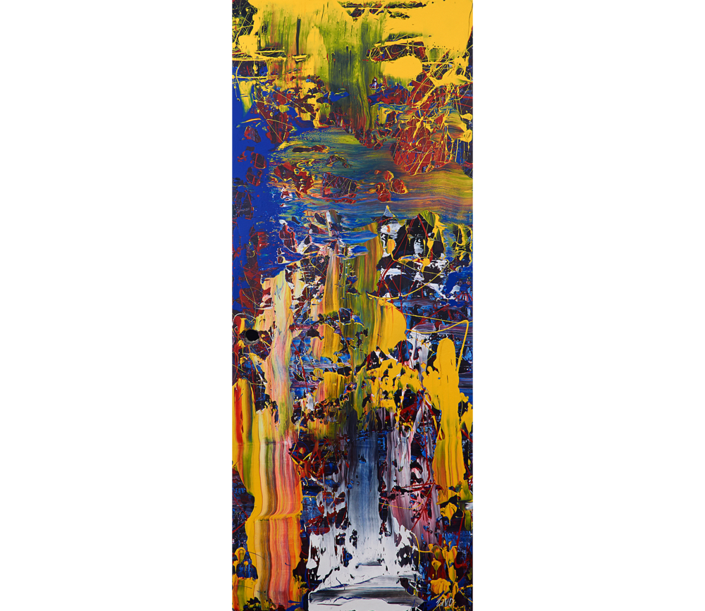 """And We Persevere   - 2013 – Acrylic on door panel. 30"""" × 77""""."""