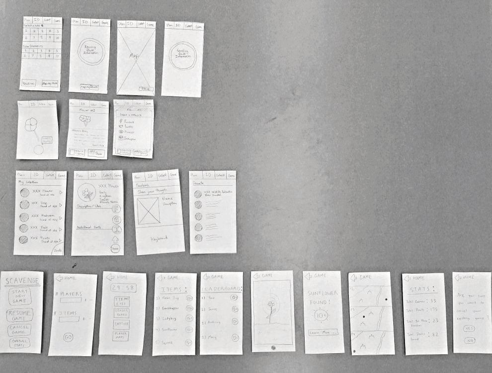 Paper prototype in order of functionality (Plan, ID, Collect, Game) from top to bottom