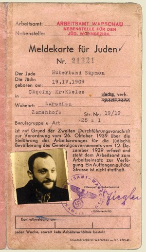 Warsaw Ghetto registration card of Rabbi Shimon Huberband, 1909-1942