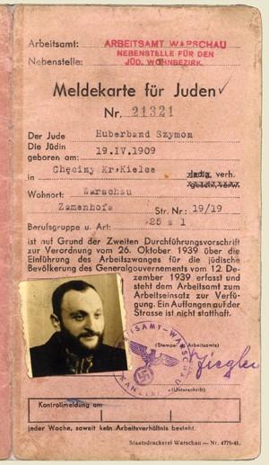 Warsaw Ghetto registration card of Rabbi Shimon Huberband, 1909-1942