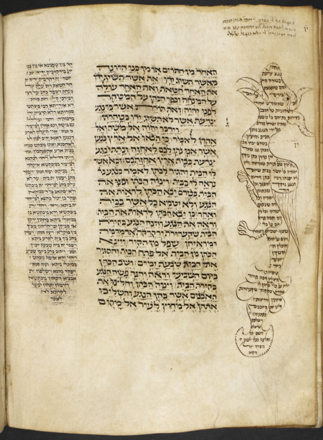An example of marginalia can be found on the top-right hand side of this page from the Multi-Scribe Pentateuch, 14th century, France. On the outer side of the page is Rashi's commentary in the shape of a dragon.