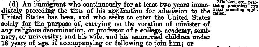 1924 US Immigration Act of 1924 (Sec. 4d).