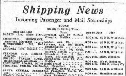 The Brooklyn Daily Eagle, Monday afternoon, August 29, 1932, announcing the arrival of the S.S. Baltic that morning at 8:30 a.m. at the pier on West 19th Street in Manhattan (click for full image).