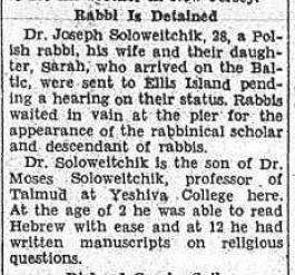 """The Brooklyn Daily Eagle, Monday afternoon, August 29, 1932, detailing the Soloveitchiks' arrival delay due to need for a """"hearing on their status"""" at Ellis Island (click for full image). Note that the newspaper misreports the Rav's age, and similarly errs in the daughter's name (presumably basing their reporting on the ship manifest)."""