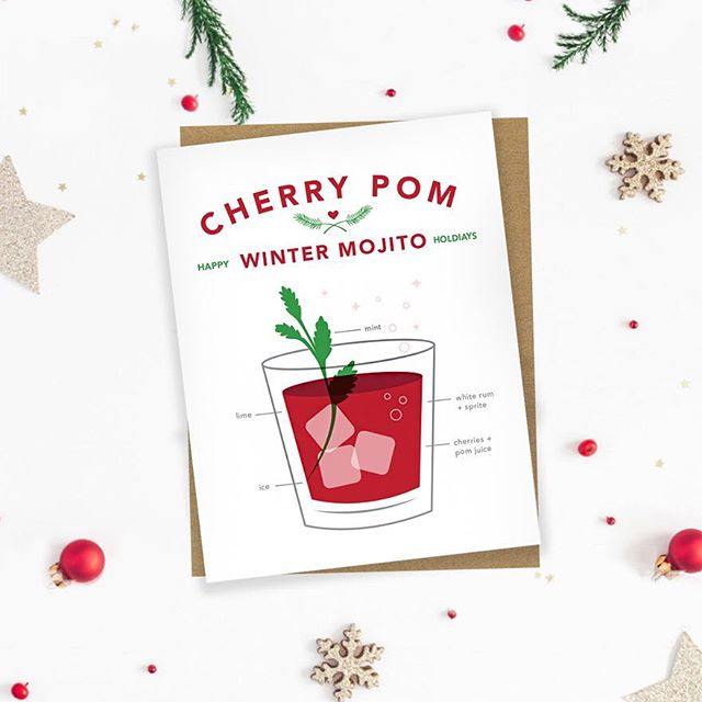 Our cocktail Christmas cards are here!! ❤️✨ choose from 3 santa-approved holiday drinks to mail this year! Each card has a REAL (& delicious) cocktail recipe inside! Shop from the link in our bio 😄