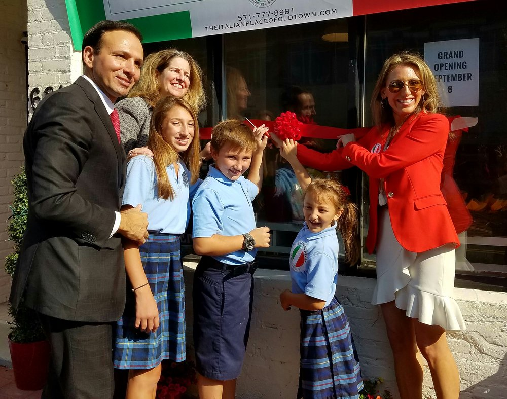 The Italian Place September 8, 2016 Ribbon-cutting with Mayor Allison Silberberg, Adriana Penachio-Sifakis, her husband George and 3 children.