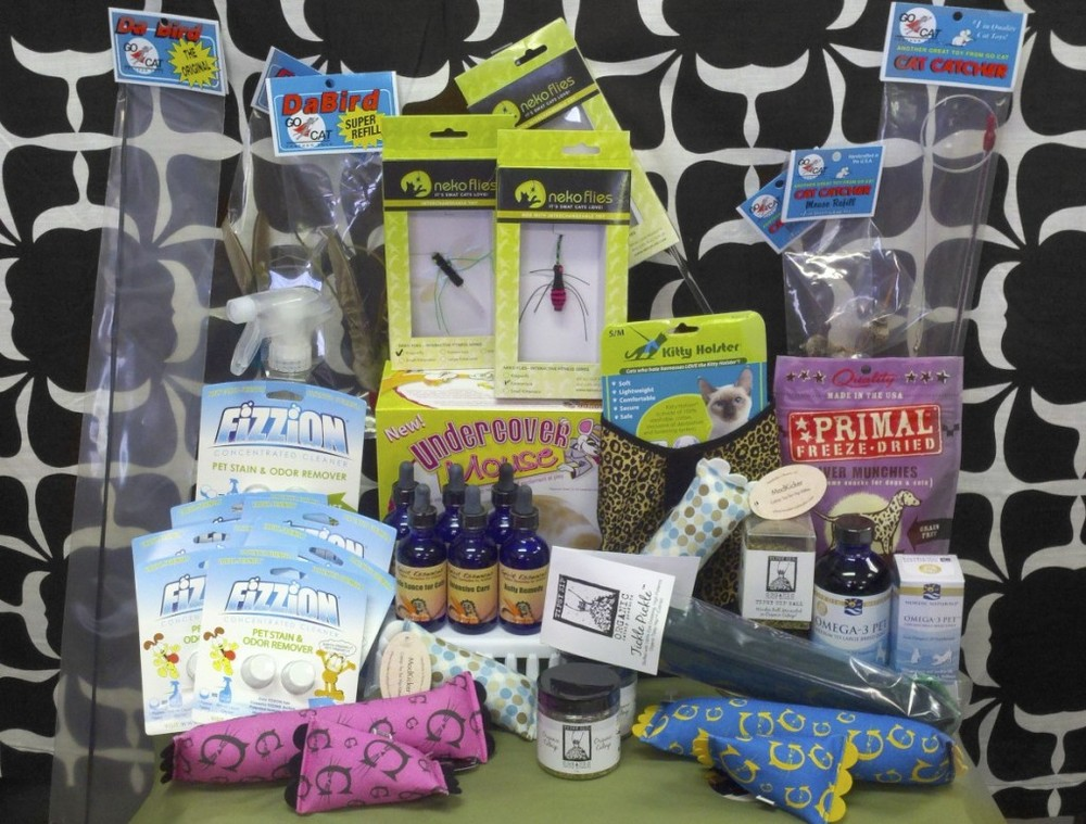 Prize items in the Who's Your Cat Daddy Book Launch Contest