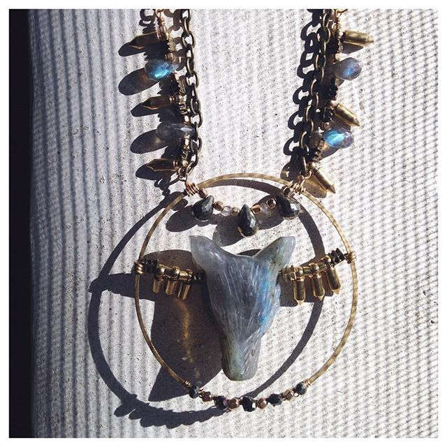 Labradorite Wolf Necklace.