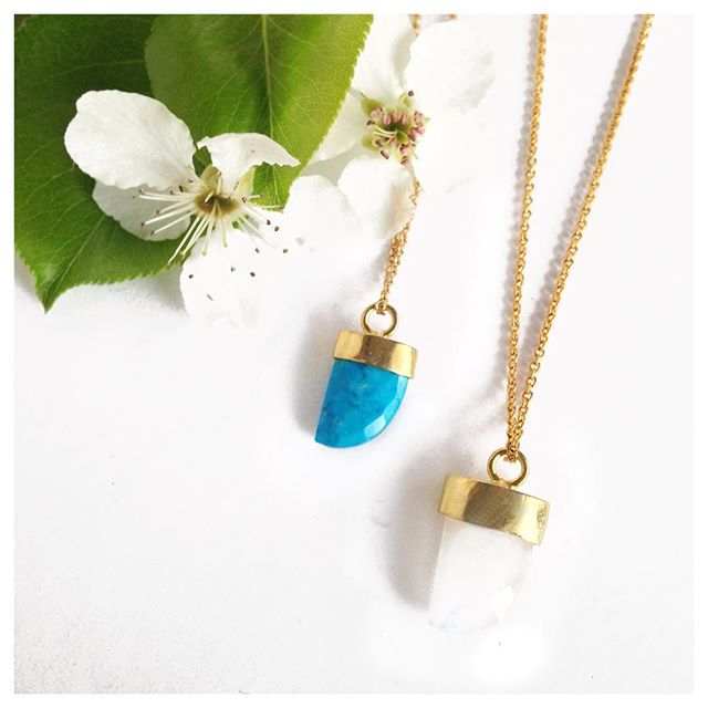 Bring on the love. Turquoise and Moonstone necklaces.