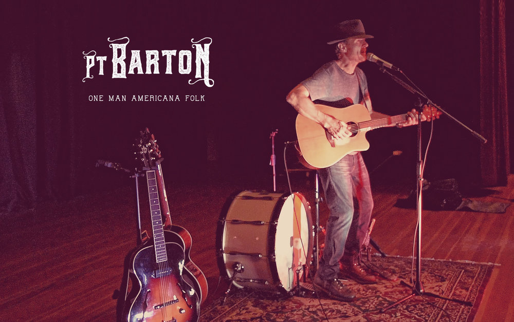 One Man Americana Folk Labeling music isn't a simple task these days. Come to a Pt Barton show and you'll pass through a landscape that includes alternative, folk, americanna, rock, bluegrass and plain spontaneity. And while each performance is different, the energy and love for the music always comes through. Building on a foundation of finger-style and flat-picked guitar, Barton adds vocals, percussion, harmonica, and banjo to create a variety of sounds from his one man act. Creating each sound entirely through live performance makes each song and each show unique.  Pt Barton is a one man band from Husum, Washington.
