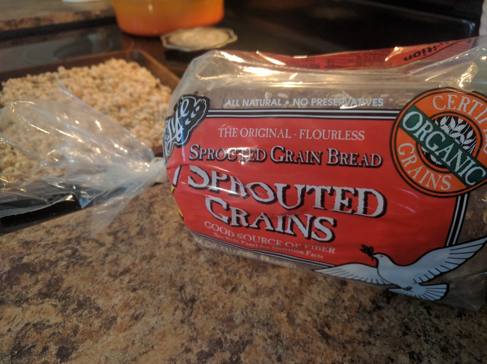 """""""Homemade"""" bread crumbs. Crumble one slice of bread and bake at 350 for a few minutes. We like our bread sans nitrites/nitrates, so Ezekiel bread is the way to go!"""