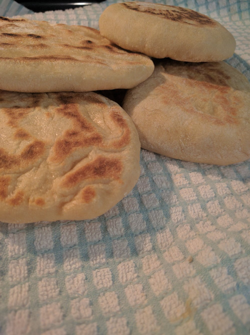 Some pitas turn out fluffier than others, but they all taste the same!