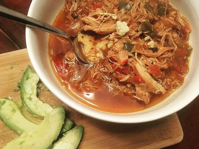 Chicken Enchilada Soup. It's healthy. It's filling. It's warm. It's what you need on your table this weekend! For such a simple recipe, it sure was tasty!!  Link in Bio