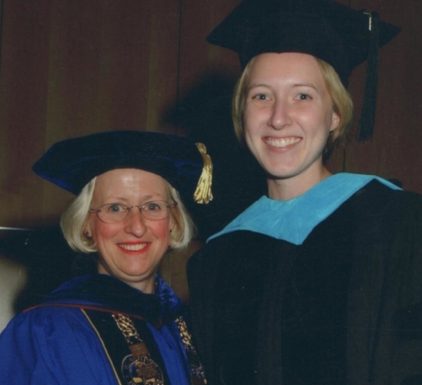 With Midwestern University President Kathleen Goeppinger, PhD on graduation day, 2004.