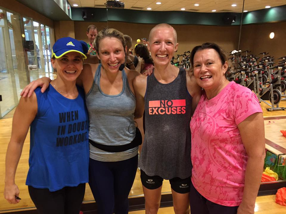 "Gym friends at a fundraiser organized for Kristin's benefit.   ""Essentially, [because of cancer] I have to crowdfund my life, which is pretty insane,"" she says."