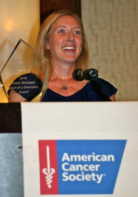 Receiving ACS's Heart of a Champion award in 2011  . Though a self-described introvert, Kristin gladly speaks whenever she is given the chance to advocate for cancer survivors.