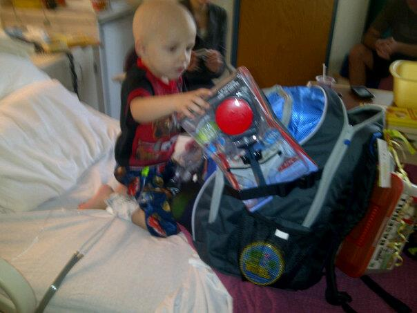 Asher receiving his Bag of Fun