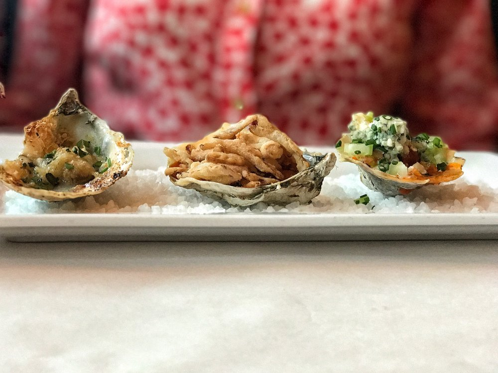 Hot Oysters, from Left to Right: Charbroiled Oyster, BBQ Oyster, & Buffalo Fried Oyster