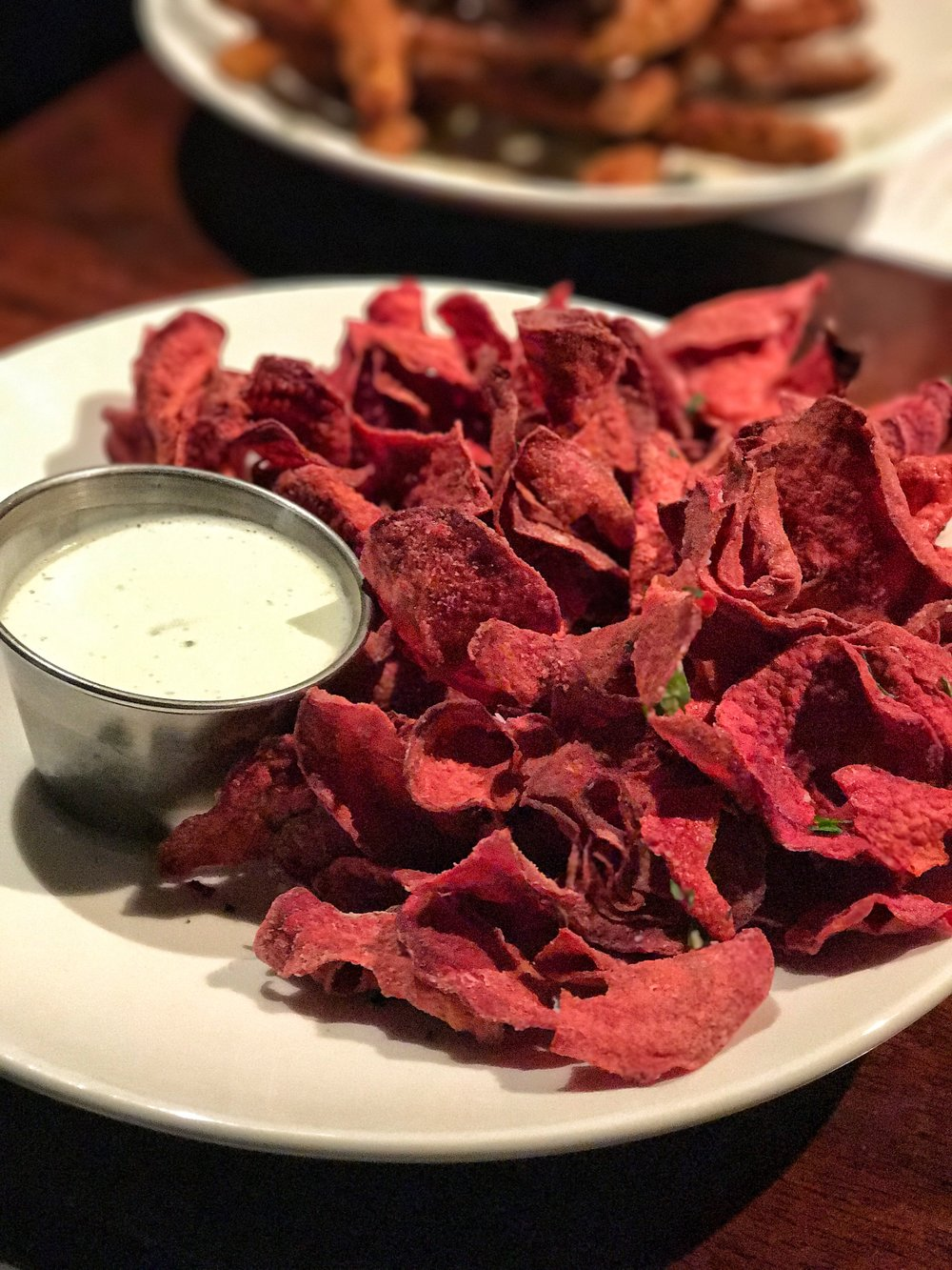 Spiralized Beet Chips - another AMAZING app on the new menu.