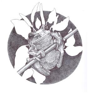 A cross hatch drawing by Ciel Patenaude