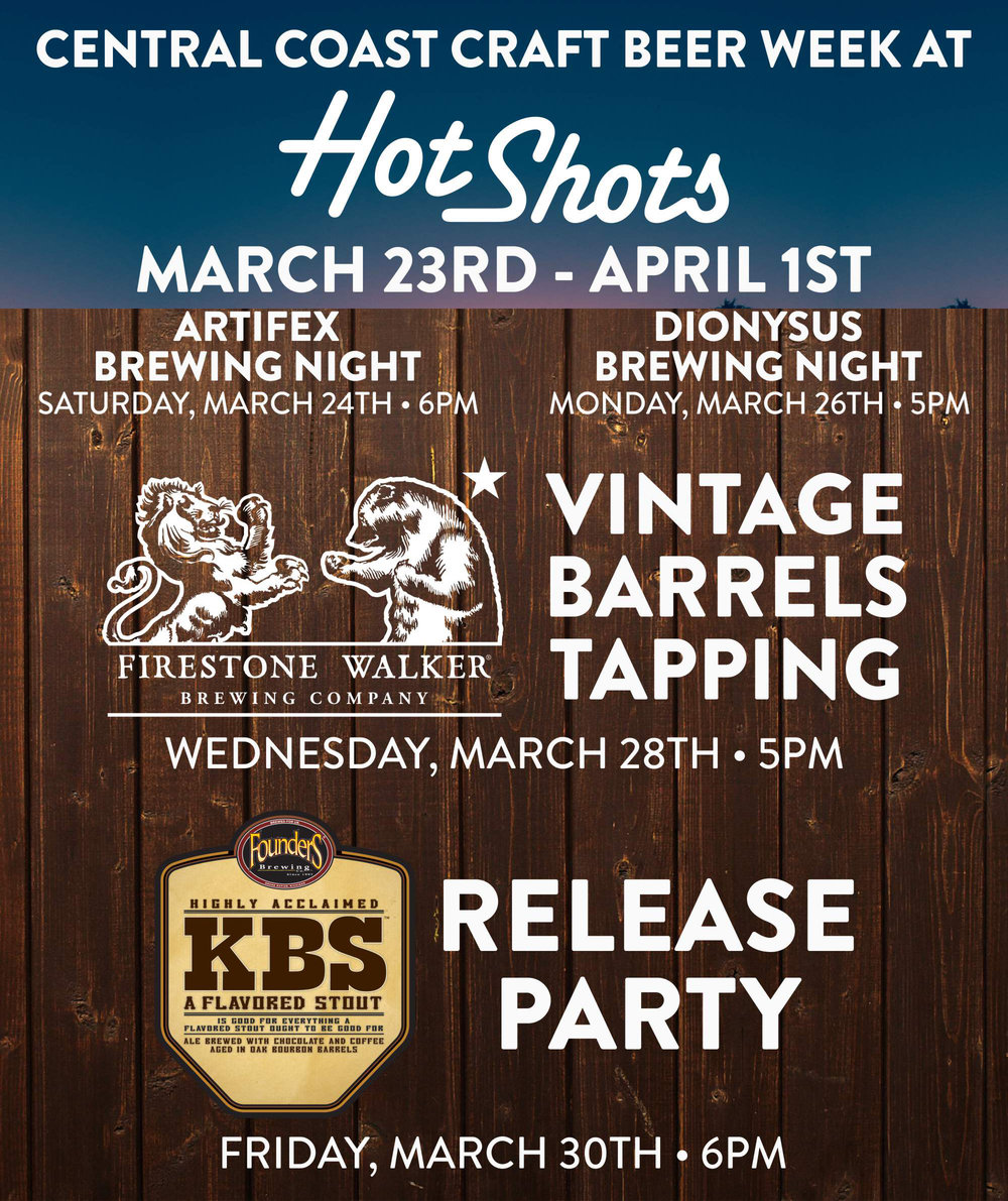 Central Coast Craft Beer Week is in full effect! Come try some amazing vintage barrel-aged beers and a couple new ones as well! Beer List: Sucaba 2014 Double DBA 2015 Sticky Monkey 2015 Anniversary XVII (2013) Coconut Rye Parabola Walker's Cuvée #2