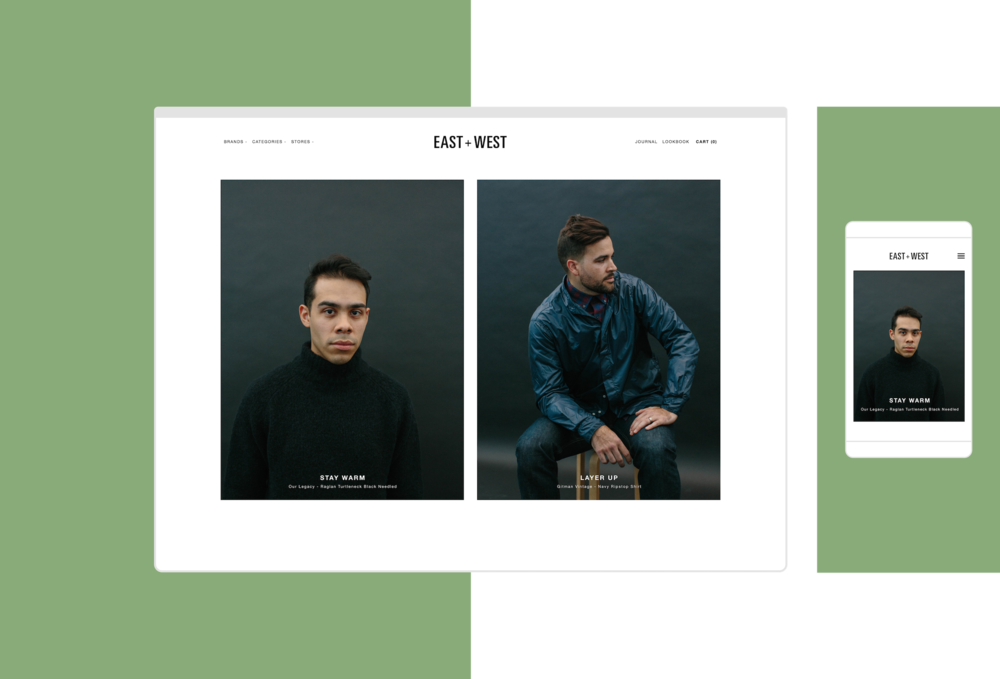 we updated the east west website to function better as a online retail space and to emphasize the clothing available in the brick and mortar shop - West Website