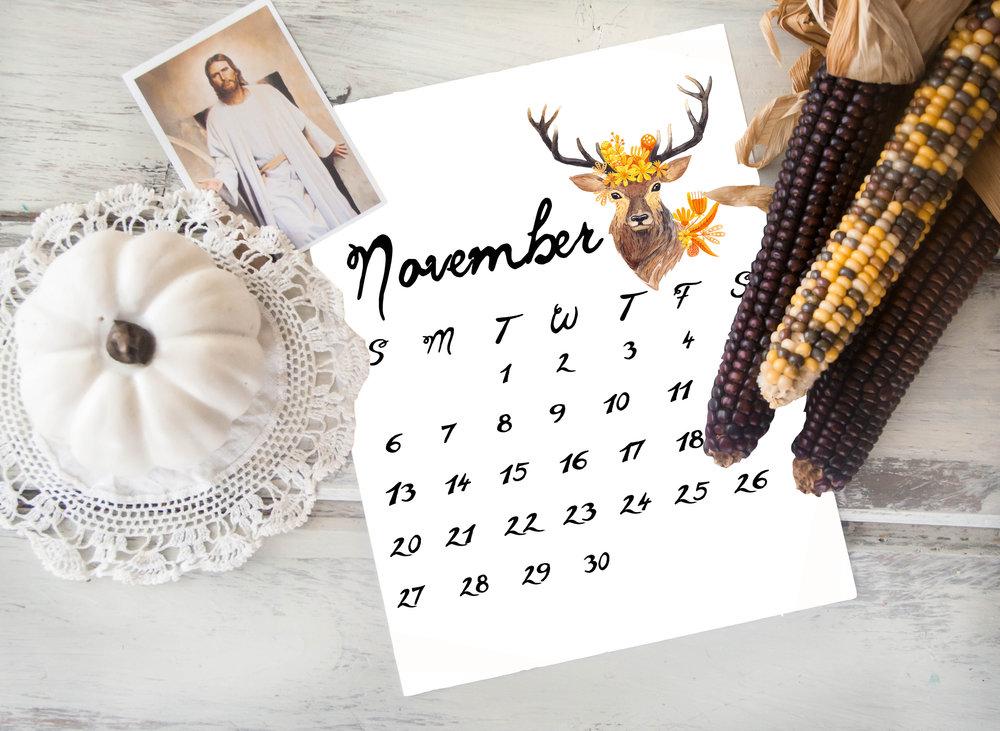 november calendar print