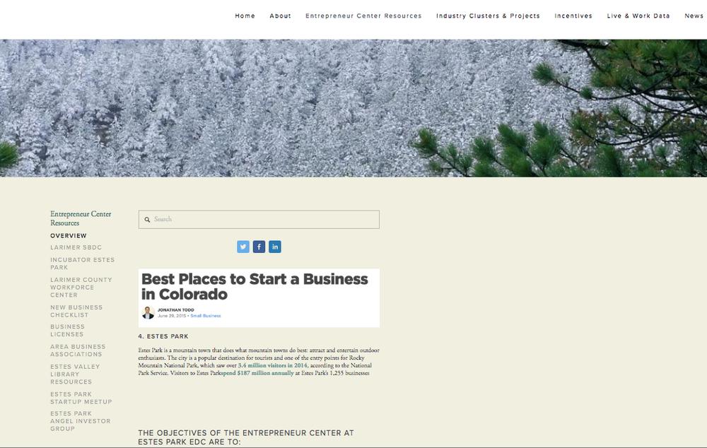 The new Estes Park EDC Website