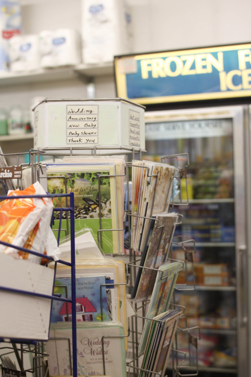 Cards for various occasions and frozen goodies at Y-Not on Ellice.