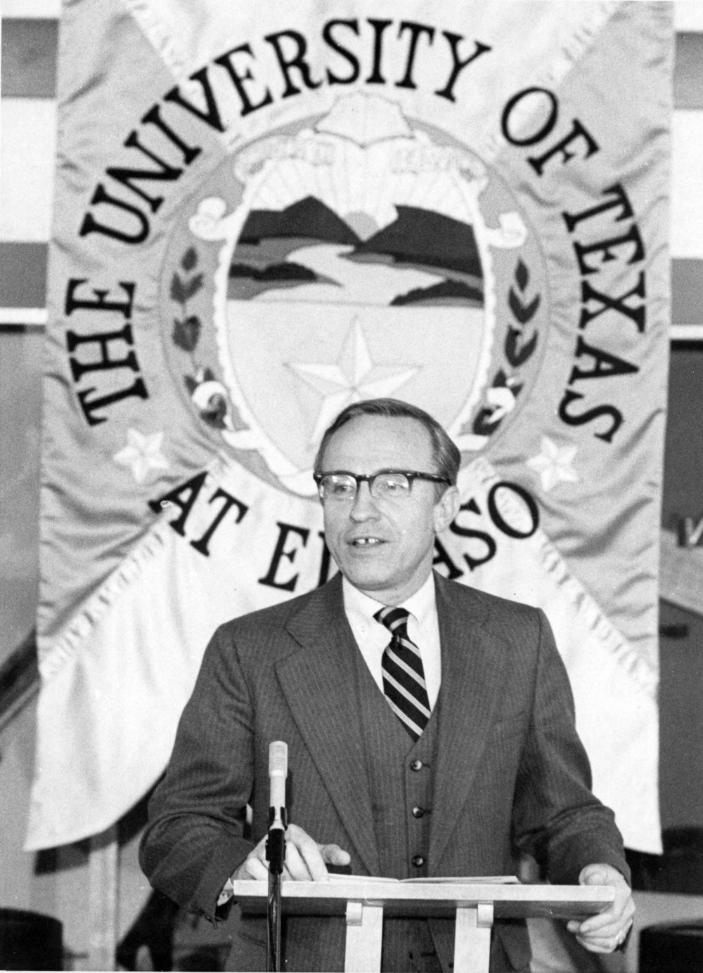 Haskell Monroe Jr. is an educator and administrator who served as UTEP President from July 14, 1980, to June 30, 1987. During his tenure, he helped increase private financial support enabling the construction of the University Library and established the Junior Scholars Program that offered students the chance to take University courses for credit while still attending high school.  In 2013, the Monroe's established the Jo and Haskell Monroe Jr. Library Special Collections Endowment, which provides a permanent source of support to ensure that critical research is possible through the use of the archives of the University Library.