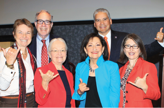 Above: (Back, from left) Kati Haycock, Robert B. Schwartz and Armando Aguirre, Ed.D. and (front, from left) UTEP President Diana Natalicio, Susana Navarro, Ph.D., and Ivette Savina celebrate the 25th anniversary of the EPCAE.