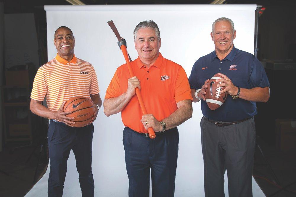 UTEP men's basketball coach Rodney Terry, Director of Athletics Jim Senter, and UTEP head football coach Dana Dimel
