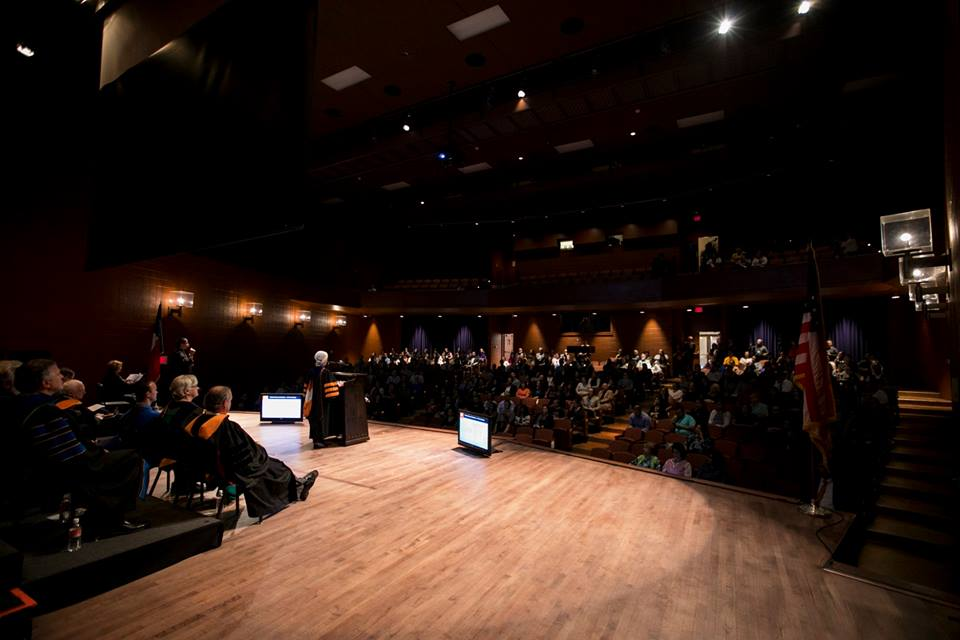 UTEP faculty and staff filled the Fox Fine Arts Recital Hall at UTEP's Fall Convocation on Oct. 11, 2018.  Photo by Ivan Pierre Aguirre / UTEP Communications