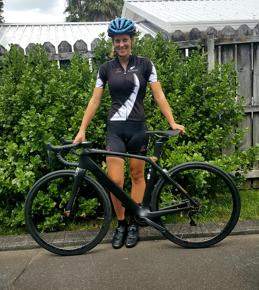 "Sarah EllingtonNZ Para Cyclist - ""Huge thanks to Parafed Auckland and Carbine Club for the scholarship I received earlier this year. I have put the money towards a new road bike. Love riding the Trek and showing off my new toy."""