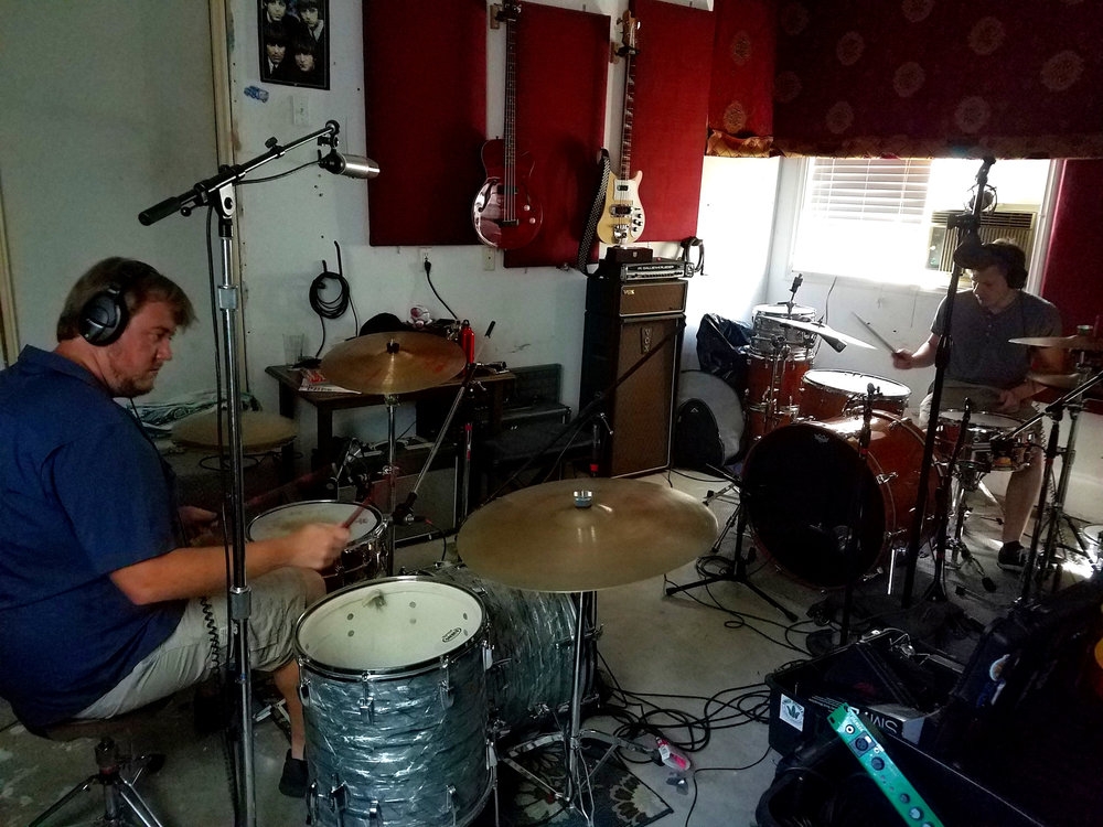 The Double Drummer setup recording at Fisket Studios