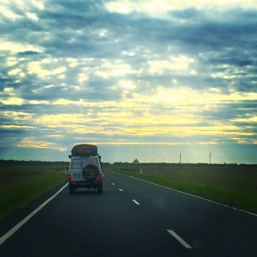 Bessie driving west past Nyngan , into the sunset.