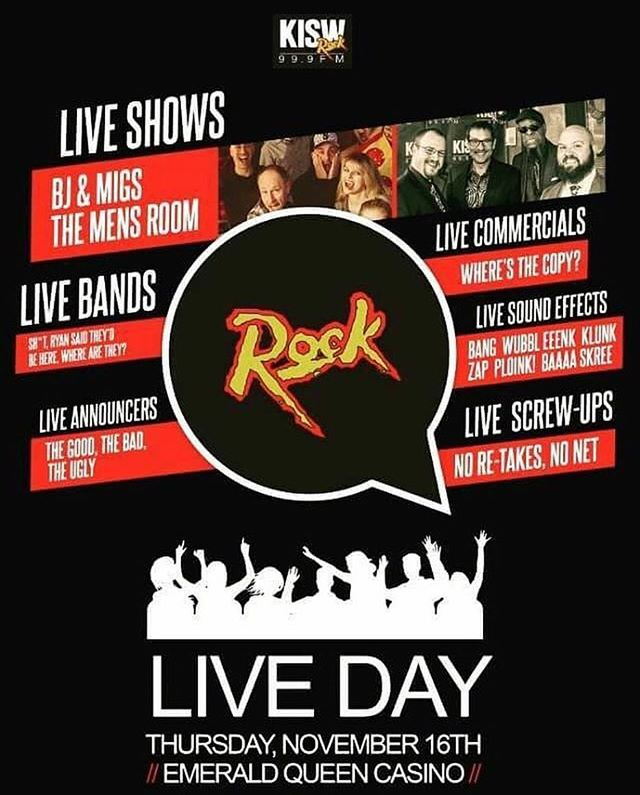 We honored and stoked to be playing KISW's Live day again this year on 11/16 at Emerald Queen Casino!