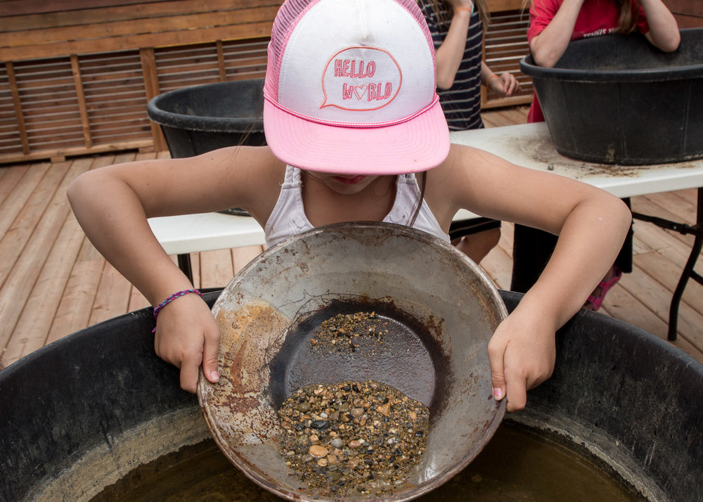 Gold panning at the MacBride Museum.