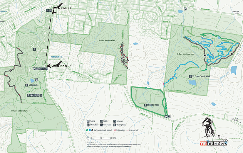 Please keep to the designated tracks - Red Hill offers MTB Trails for all levels of riders. The ones closest to the Eagle's Summit Station are rated black and are suitable for experienced riders. Click map to enlarge.