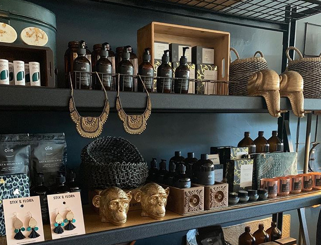 The shelves of goodies at Style Pirate.