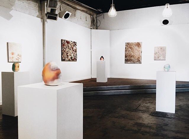 An image from our 2016 show at Companion Gallery in Austin, TX, Gathered Clay, featuring the work of Angel Oloshove and Leah Dyjak.